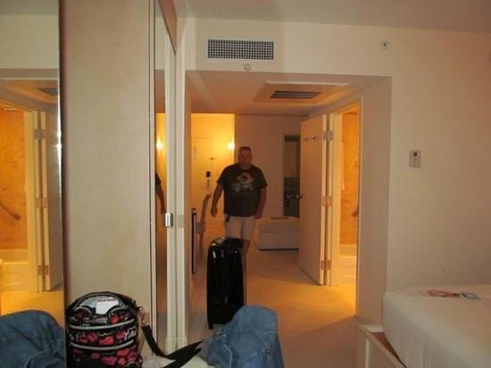Grand Beach Hotel: view from bedroom looking to door (note TWO bathrooms!)
