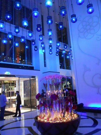W Doha Hotel Residences Lobby With Flowers And Blue Lights