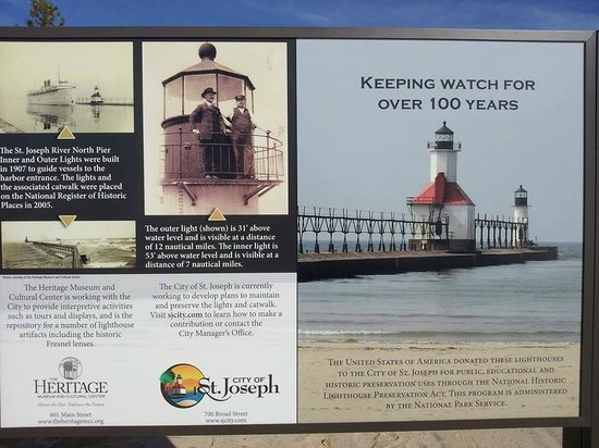 St. Joseph Lighthouses: This is new sign at Tiscornia Beach. They have information on lighthouse.