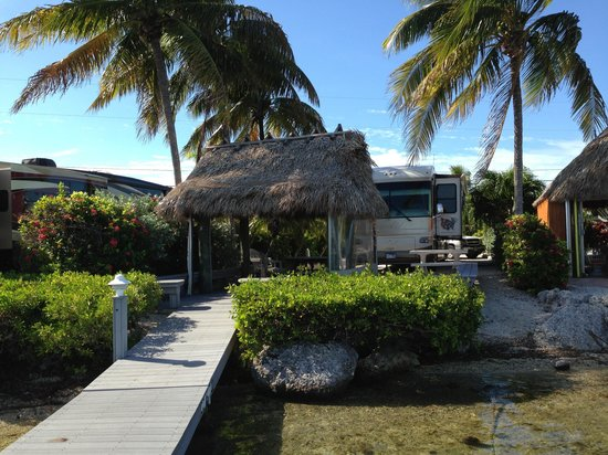 Our Tiki Hut With Boat Dock Water In The Background