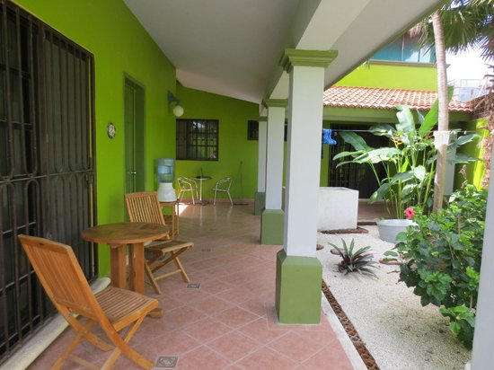 Los Alcatraces: Outside the room - the garden area (pool is behind the photographer)