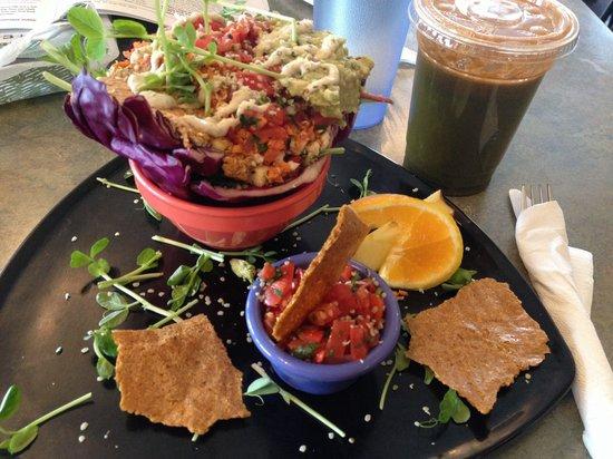 Go Raw Cafe : Purple burrito plate, #5 sweet green juice