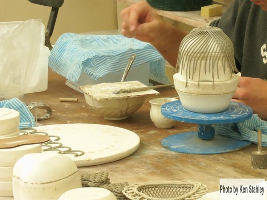 Belleek Pottery & Visitor Centre: Hand Lay Up of a Belleek Pottery Basket