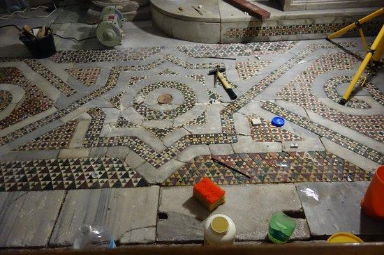 Church of San Cataldo: floor being restored