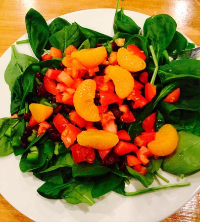 House of Pizza: They'll let you choose your salad ingredients! Spinach,tomatoes, peppers, mandarin oranges, cran