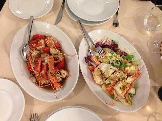 Fondaco del Vecchio Glicine: Lobster Catalana (right) and Sardinian style - both great
