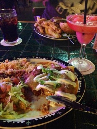 Cactus Jack's Bar & Grill : enchilladas and strawberry margherita