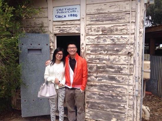 The Great Aussie Beer Shed: owner offered to take a photo for us outside the old police cell, nicely taken mate!