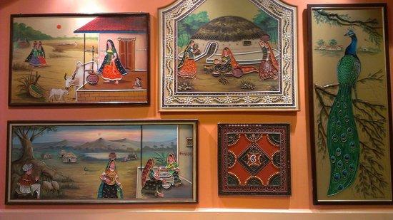 Thali Vegetarian: Inside back wall - nice artwork from Gujarat, India