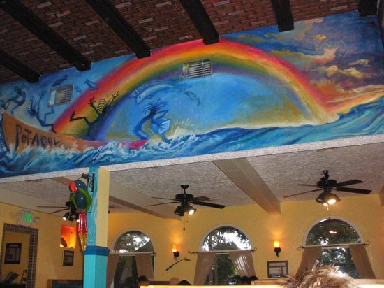 Chef David's Roastfish & Cornbread: high wall and ceiling decor