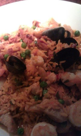 Bahama Breeze: Seafood Paella is delicious with every bite nice serving size as well.