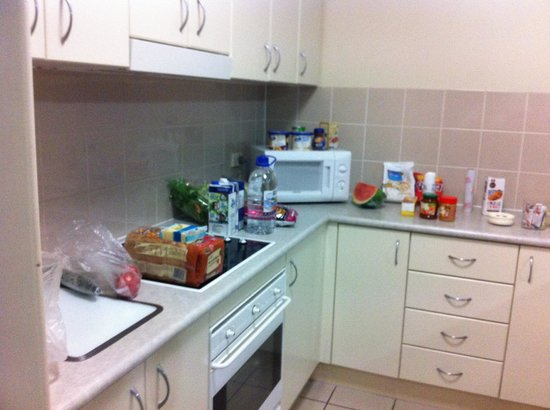 Bridgewater Apartments: Kitchen with online ordered groceries from Coles