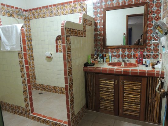 Mahekal Beach Resort: walk-in shower and wash-table, WC is behind corner/wall