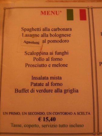 Ristorante Piccolo Martini : Menù