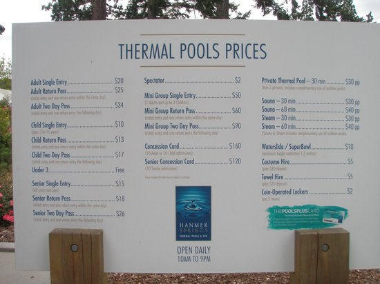 Hanmer Springs Thermal Pools & Spa: The price board