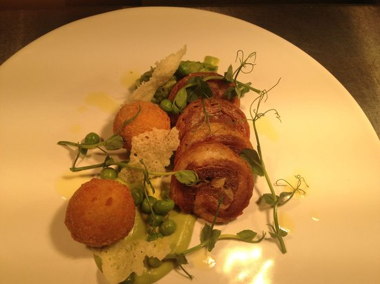 Fairway Hotel: Breast of lamb, pea risotto balls and shoots