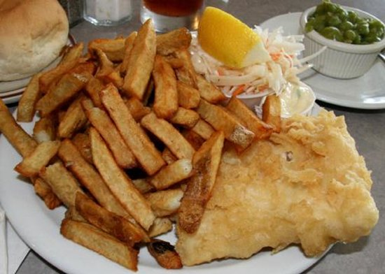 Not greasy and reasonable cost olde london fish and for Best place for fish and chips near me