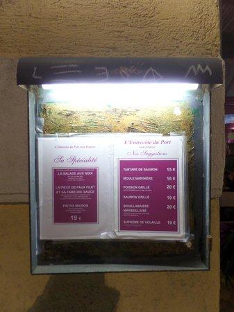 L'Entrecote Du Port : le menu