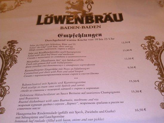 Löwenbräu: Carte des menus