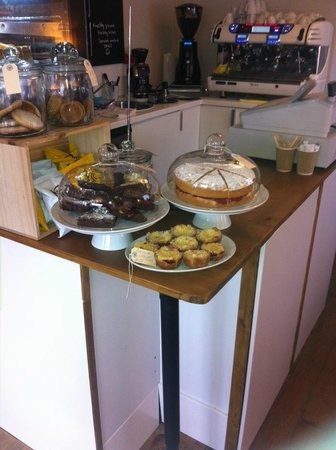 HR Coffee Bar: Display of freshly baked cakes