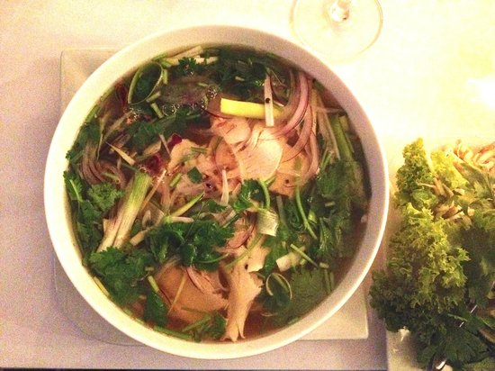 Bonjour Vietnam: Phở gà: The famous Vietnamese national dish. Mildly spiced chicken soup and fresh herbs