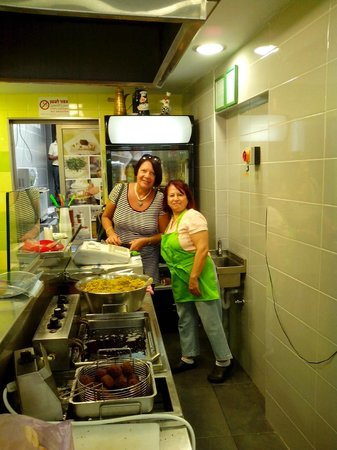 Falafel Hwadi Micheal: Ivet (left) with a happy, well fed customer
