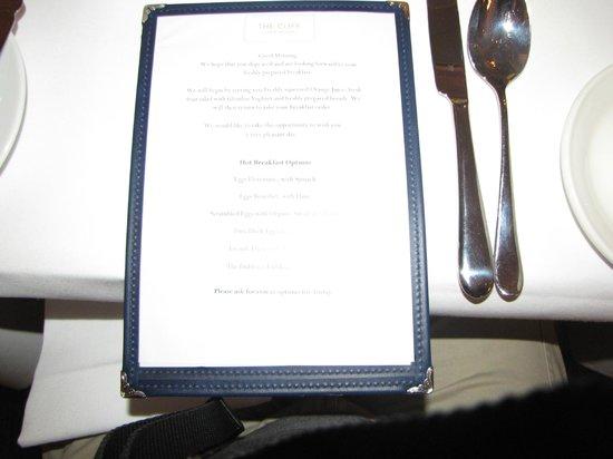 Cliff TownHouse: Breakfast Menu
