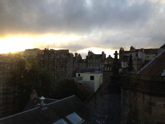 Jurys Inn Edinburgh: Morning sunrise looking at Arhur's Seat.