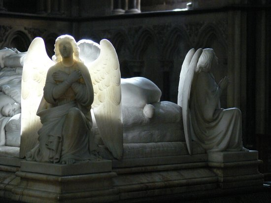 Worcester Cathedral: Alabaster angels back-lit by a seconds long ray of sun-light