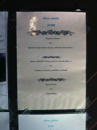 Restaurant L'Amadeus : Menue Catalan