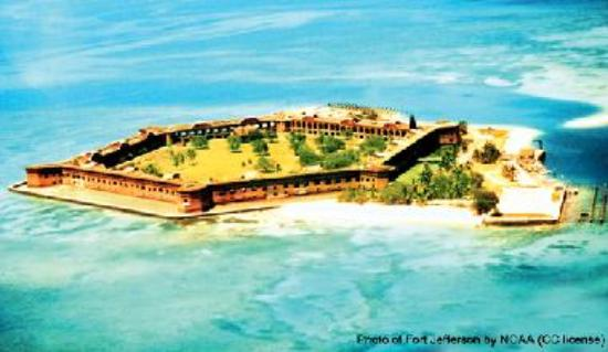 Aerial of Fort Jefferson and its beach
