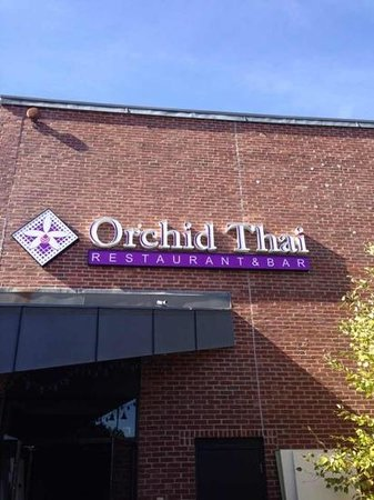 Orchid Thai restaurant: Channel letter sign on the True North building