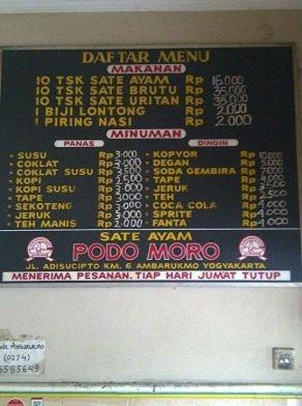Sate Ayam Podomoro: menu at wall