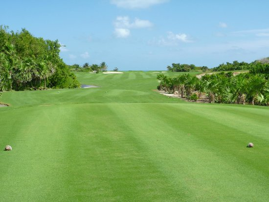 Playa Mujeres Golf Club: Hole 16, Par 4.   From tee.
