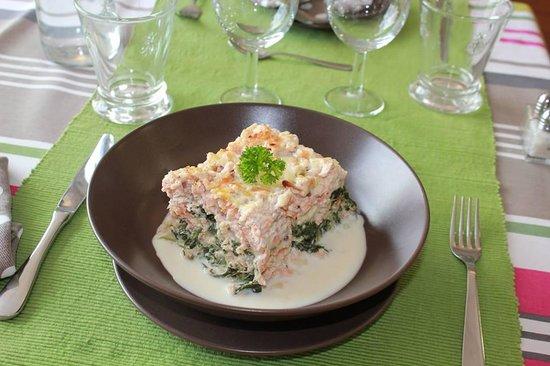 Le Dejeuner sur l'Herbe : lasagnes aux deux saumons