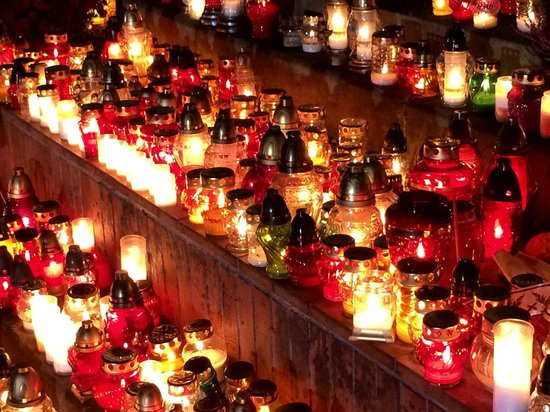 Rakowicki Cemetery: Just some of the thousands of glittering candles