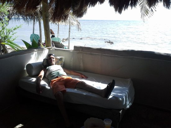 "Maya Chan Beach : Our ""villa"" had a bed and 4 chairs."