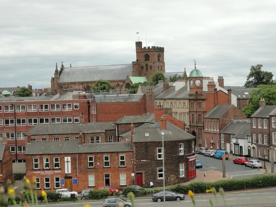 Carlisle Castle: From the exterior wall old town Carlisle Cathedral.