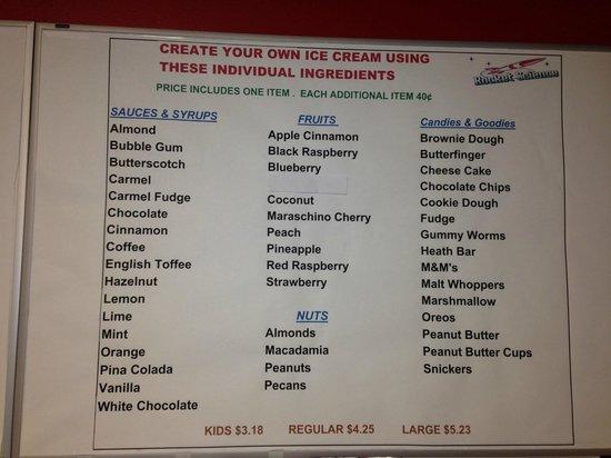 Rocket Science Ice Cream in Nappanee: Menu
