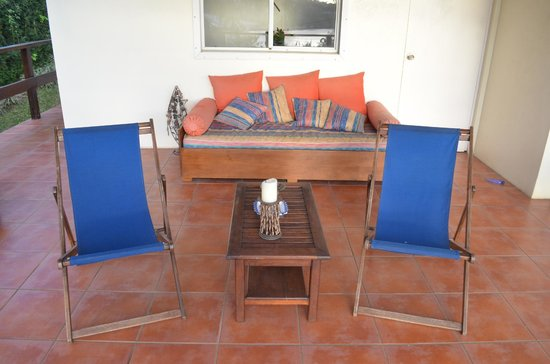 La Maison Bleue: deck chairs - grab a bottle of wine and watch the world go by!