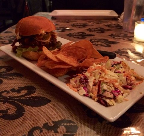 Fresh - Farm to Table: Burger with house-made chips and slaw.