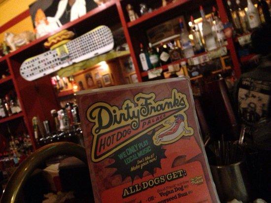 Dirty Frank's Hot Dog Palace: The menu
