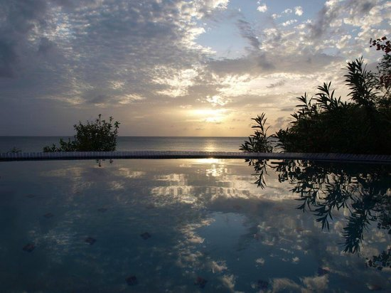 Calabash Cove Resort and Spa : Pool overlooking the Caribbean at sunset