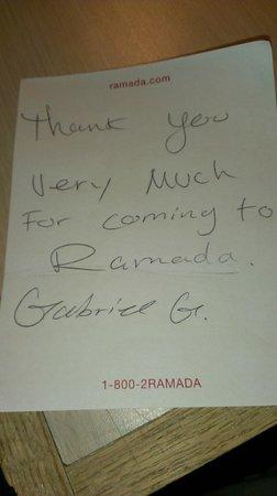 Ramada Salt Lake City: 房務員清理後留的字條