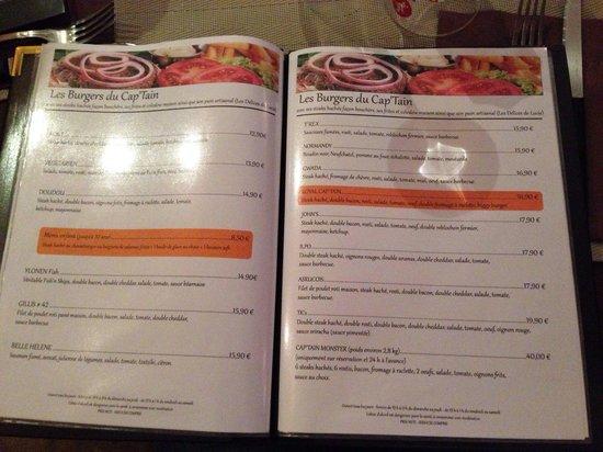 Le Cap'Tain : The burger menu!