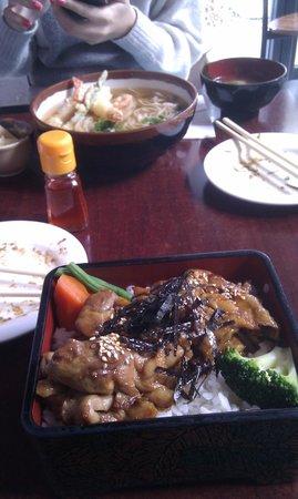 Komachi Japanese Restaurants: Teriyaki Chicken Ju Main and Tempura Udon in background