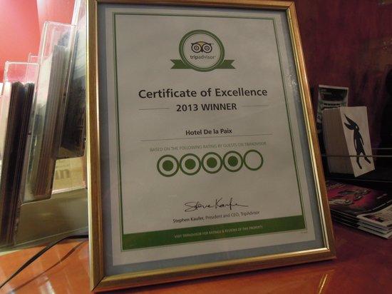 Hotel De la Paix : tripadvisor award 2013
