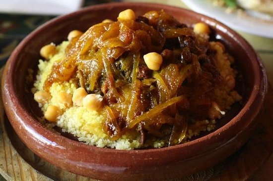 Tajine Elvira: Cous cous with caramelized onions, garbanzos, and chicken.