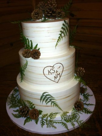 The Fern Lodge: an Adirondack style wedding cake!