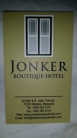 Jonker Boutique Hotel: name card of hotel